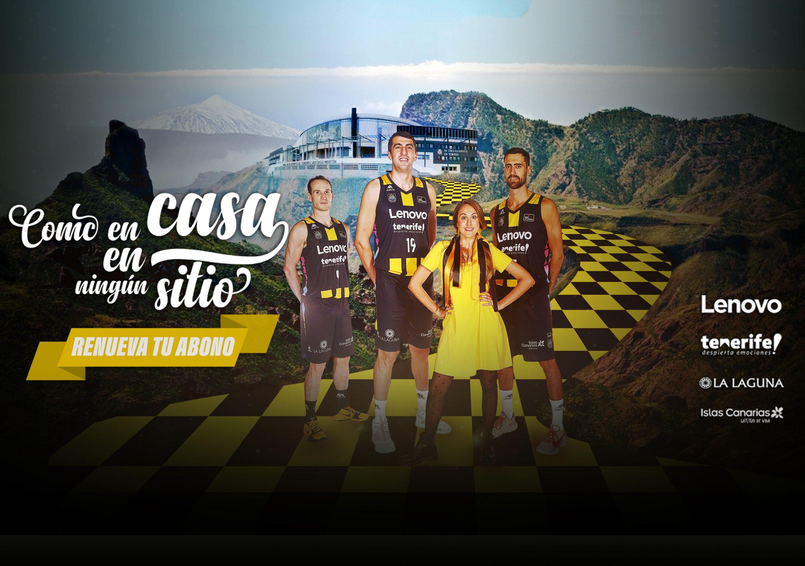 'Como en casa, en ningún sitio ¡Renueva tu abono!', lema de la campaña de abonos de Lenovo Tenerife