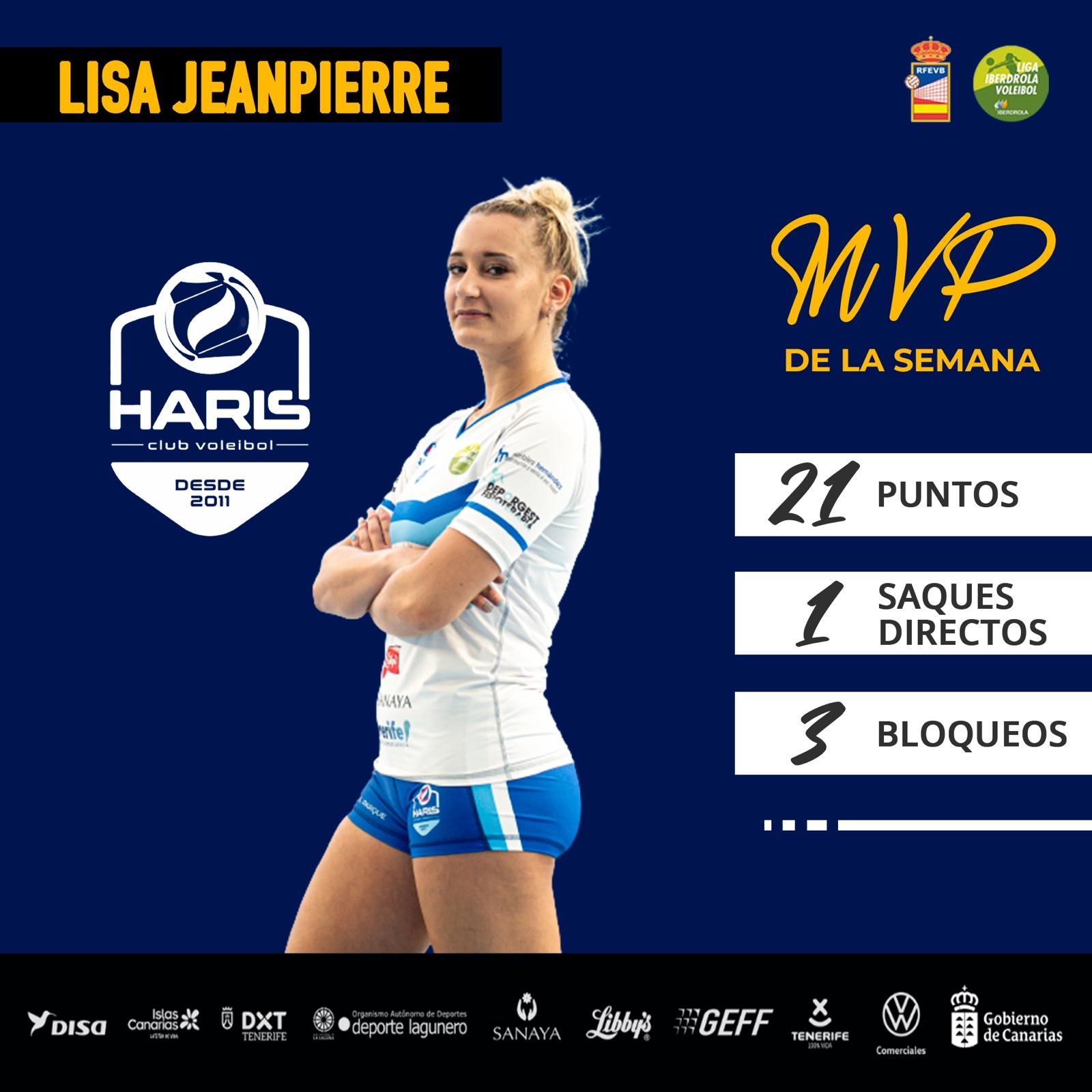 La jugadora del CV Haris, Lisa Jeanpierre, la mejor de la jornada de la Liga Iberdrola