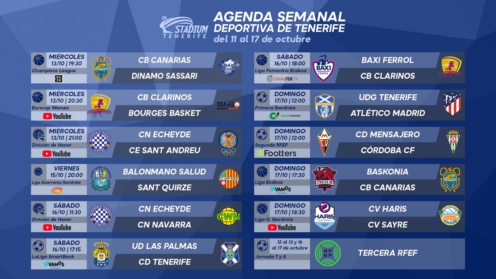 Agenda Semanal Deportiva de Tenerife (11 al 17 de octubre de 2021)